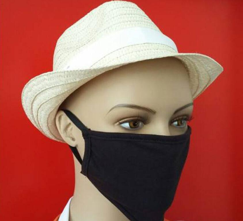 Μάσκα Προσώπου 100% Βαμβακερή, Πλενόμενη, Πολλαπλών Χρήσεων, Μαύρη Τεμάχιο
