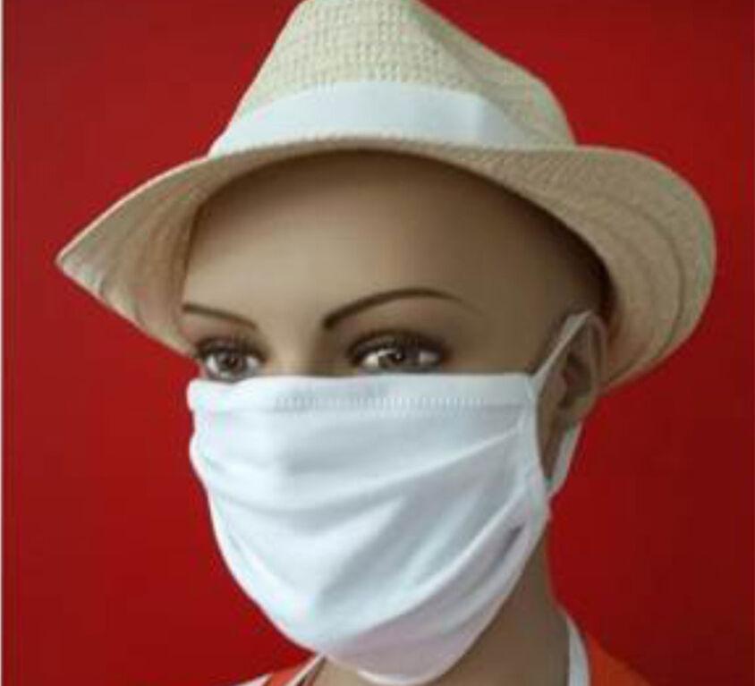Μάσκα Προσώπου 100% Βαμβακερή, Πλενόμενη, Πολλαπλών Χρήσεων, Λευκή Τεμάχιο